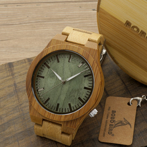 BOBO BIRD 2016 New Arrival Men's Bamboo Wood Wristwatch Ghost Eyes Genuine Leather Strap Glow Analog Watches with Gift Box