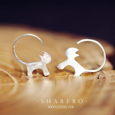 925 Sterling Silver Cute Cat Earrings For Women Girl Lovely Kitty  Tud Earrings Hypoallergenic Sterling-silver-jewelry