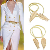 New Fashionable Women Metal Leaves Elastic Waist Dress Belt Strap Waistband Promotion Sale Wholesale