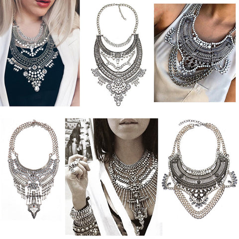 2016 New Fashion Vintage Boho Crystal Collares statement Necklaces & Pendants Choker Maxi Necklaces Women Collier Femme Jewelry