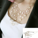 Hot sale Brand Design western style Multilayer Pendants Rhinestone gold hollow flowers necklace jewelry statement