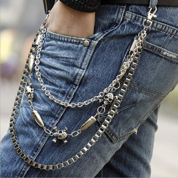 Best Deal New Diomedes Silver Alloy Unisex Hip-hop Skull Pendant Punk Rock Cowboy Pants Trousers Chain Gift 1PC