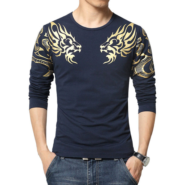 2016 Autumn new high-end men s brand t-shirt fashion Slim Dragon print –  Ved10 9e2f6fec4f