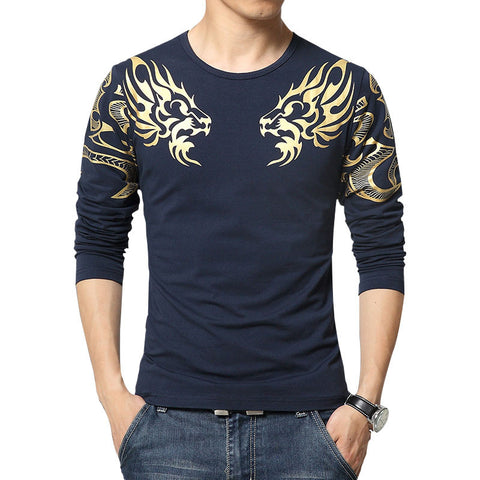2016 Autumn new high-end men's brand t-shirt fashion Slim Dragon printing atmosphere t shirt Plus size long-sleeved t shirt men