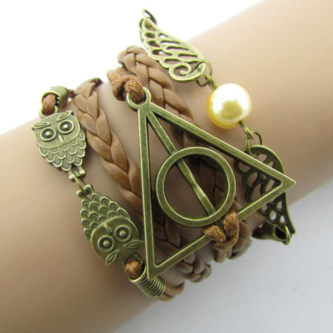 2016 Fashion Charm  Hand-Woven Harry Potter Hallows Wings   Bracelets Vintage Multilayer Braided  B051B4.5
