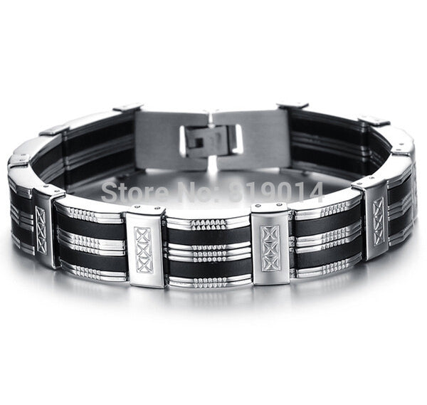 Stainless Steel Bracelet & Bangle 210mm Men's Jewelry Strand Rope Charm Chain Wristband Men's Bracelet