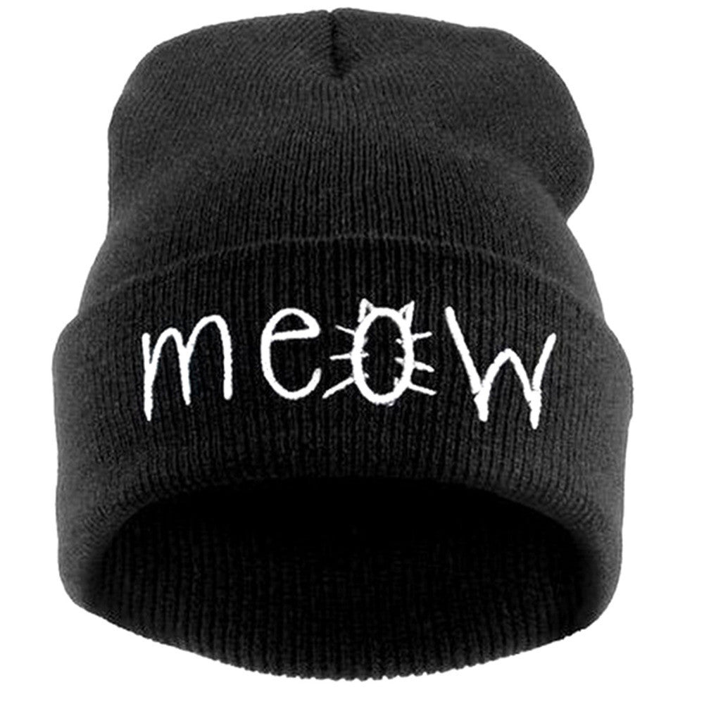 2a36bf8c Fashion MEOW Cap Men Casual Hip-Hop Hats Knitted Wool Skullies Beanie Hat  Warm Winter Hat for Women Drop Shipping SW43 2016 New