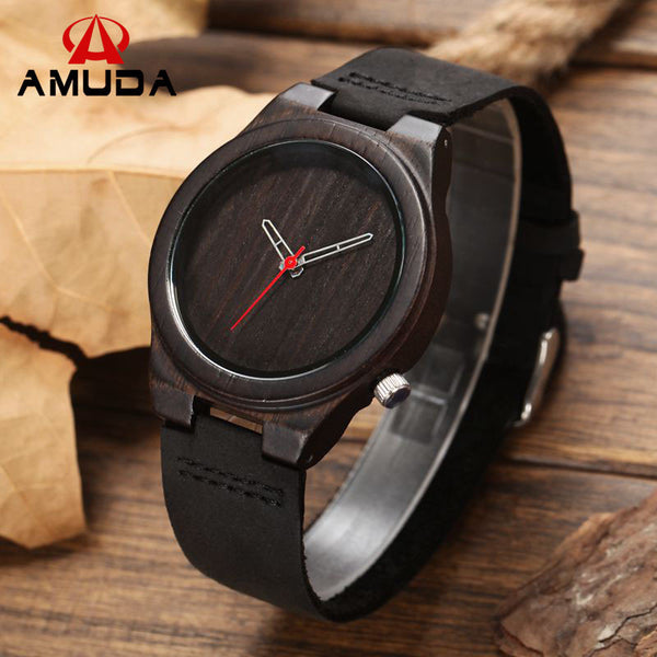New Arrival Maple Wood Mens Fashion black Leather Bamboo Wooden Watches Analog Quartz Wrist Watch With Box