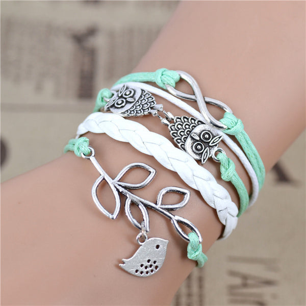 New Fashion infinity OWL Olive Branch Multilayer Bracelet , Sky green Bracelet, Woven Leather Bracelet