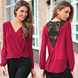 2016 New Fashion Sexy Fashion Women V-neck Tops Tee Long Sleeve Shirt Casual Blouse Loose shirt