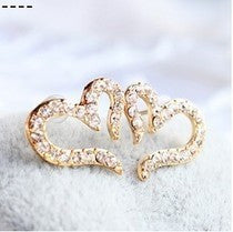 Free Shipping $10 (mix order) New Fashion Vintage Plated Small Love Rhinestone Stud Earrings E611 Jewelry