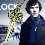 New Necklaces Pendants for men women drama movie Detective Sherlock Holmes key room 221B zinc alloy link chain jewelry C230 C231