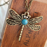 N379 Vintage Hollow Dragonfly Pendants Necklaces Women Antique Gold Plated Jewelry Accessories 2016 Collares Wholesales