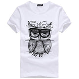2016 New Summer Fashion Men T Shirt Boy Short Sleeve Cotton Owl Printing Tees Shirts Casual T-Shirt Male Tops Shirt Clothes