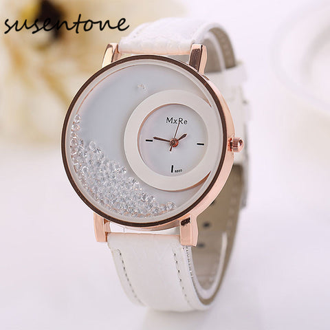 relojes mujer 2016 top brand luxury PU Leather Quicksand Rhinestone clock women Quartz Watch womens watches orologi donna #BK