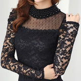 Plus size M-XXL Blouse 2016 New fashion Women's Stand Pearl Collar Lace Crochet Blouses Shirts Long Sleeve Sexy Tops For Women