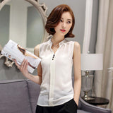 Soperwillton New 2016 Summer Chiffon Blouse shirt Women Printed Sleeveless White top Blouses Shirts Female Office tops #A806