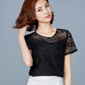 White Blouse Lace Chiffon Short Sleeve Summer Women Tops 2016 New Fashion Korean Hollow Out Ladies Shirt Office Female Clothing