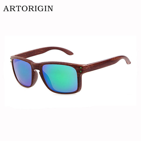 Fashionable Wood Sunglasses Men Reflective Sports Sun Glasses Outdoors Square Eyewear Gafas De Sol Oculos De Sol Feminino