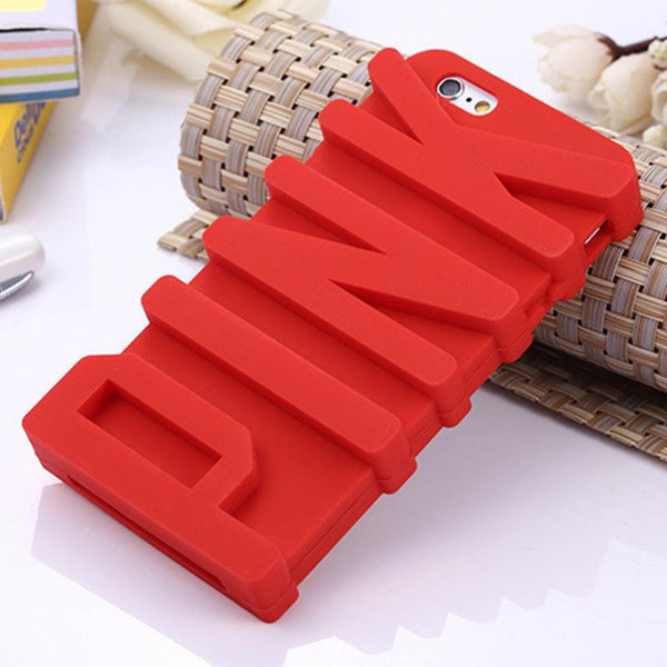 Fashion 3D PINK Letter Soft Silicone Case for iPhone 5 5s/ 6 6S 4.7