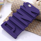 "Fashion 3D PINK Letter Soft Silicone Case for iPhone 5 5s/ 6 6S 4.7""/6 Plus 5.5 inch Mobile Phone Back Covers"