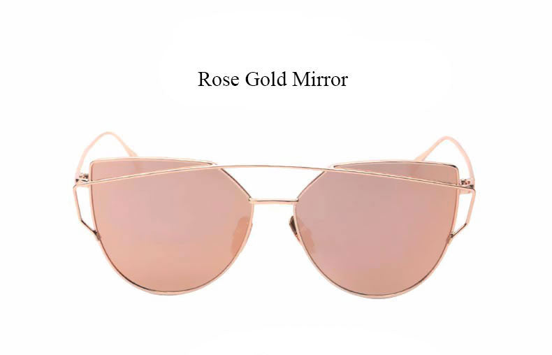 95d49fca5f CandisGy Cat eye Women Sunglasses 2016 New Brand Design Mirror Flat Rose  Gold Vintage Cateye Fashion. Loading zoom