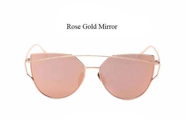 CandisGy Cat eye Women Sunglasses 2016 New Brand Design Mirror Flat Rose Gold Vintage Cateye Fashion sun glasses lady Eyewear