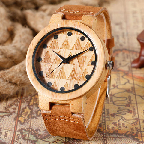 New Fashion Handmade Wood Watch Analog Men's Watches Genuine Leather Creative Hole Time Ladies Gift Relojes