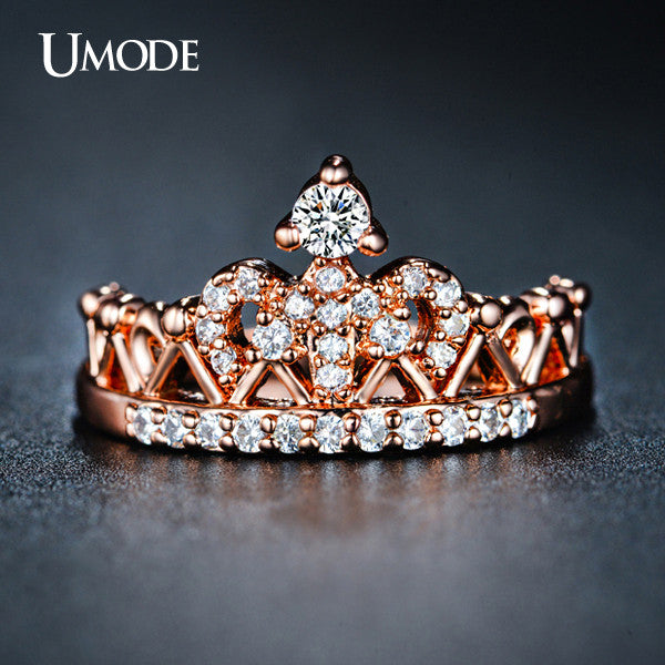 UMODE Exquisite Crown Shaped Ring Rose Gold Plated CZ Rings for Women Fashion Plated Aneis De Ouro Zirconia Jewelry UR0217