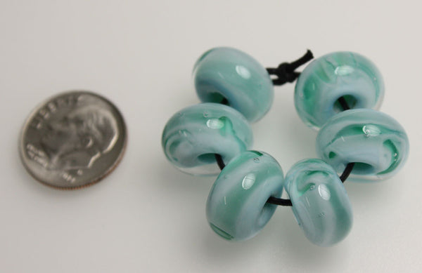 Blue Green Large Hole Lampwork Beads-