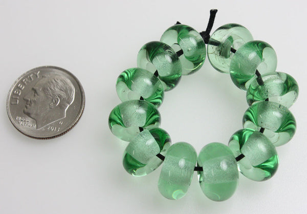 Green Large Hole Lampwork Beads