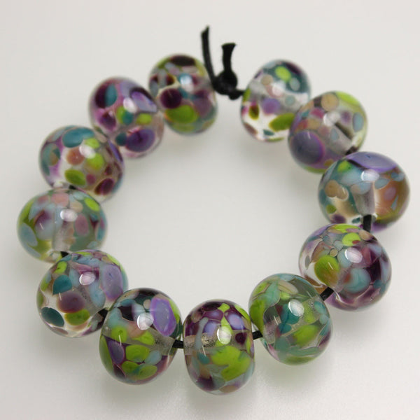 Green Pink Purple Lampwork Beads