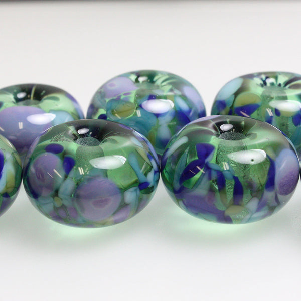 Green and Purple Large Hole Lampwork Beads