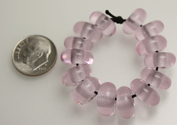 Pink Rose Large Hole Lampwork Beads