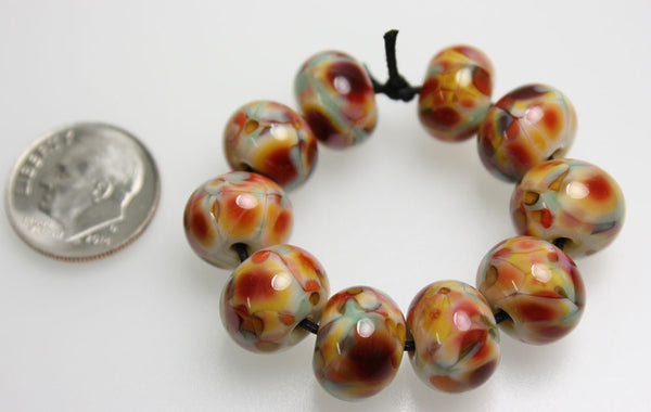 Pink Yellow Green Lampwork Beads
