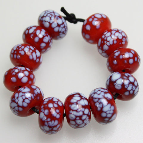 Red and White Enamel Lampwork Beads