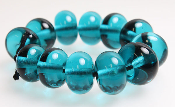 Teal Blue Lampwork Spacer Beads