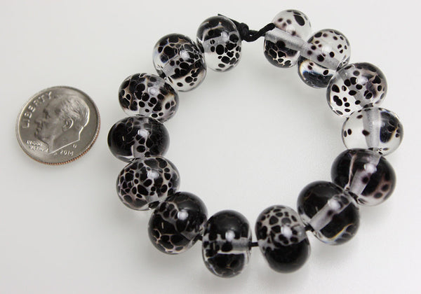 Black and Clear Lampwork Beads