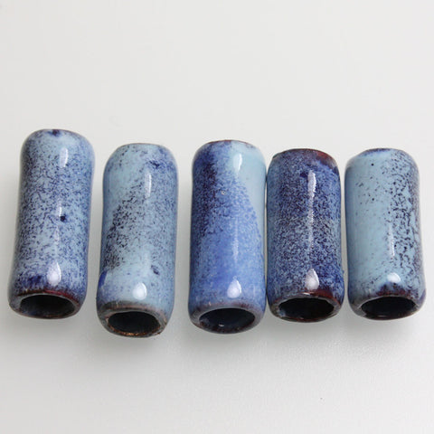 Blue Enamel Copper Tube Beads