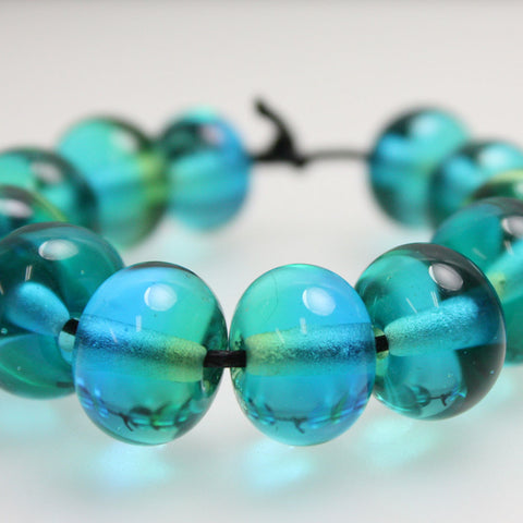 Blue Green Half and Half Lampwork Beads