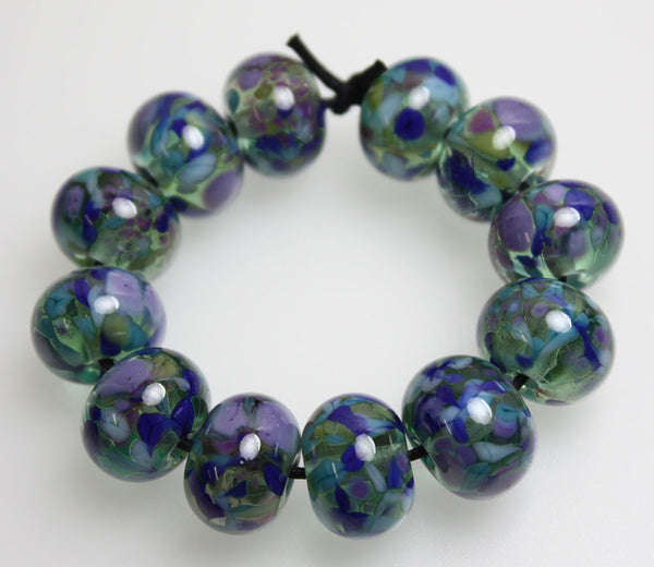 Blue Green Purple Lampwork Beads~Monet's Garden