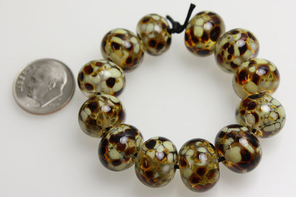 Brown frit beads
