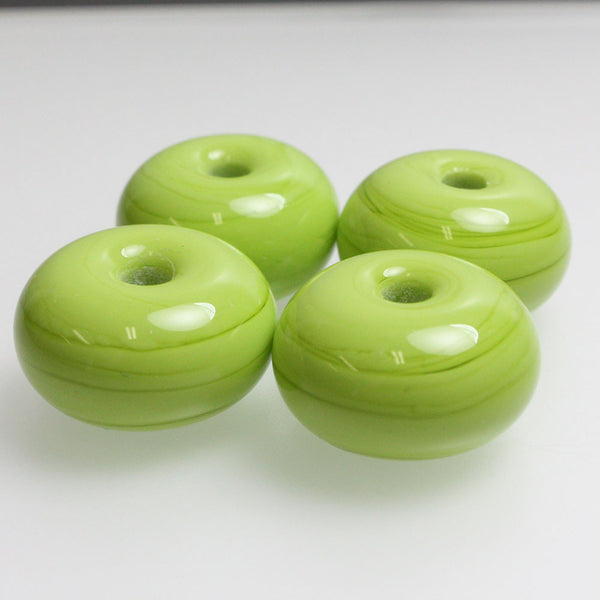 Green Large Hole Lampwork Beads - Pea Green