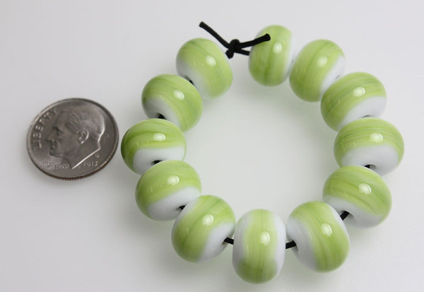 Green and White Lampwork Beads