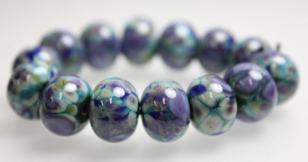 Handmade in the USA Blue Green Purple Lampwork Beads