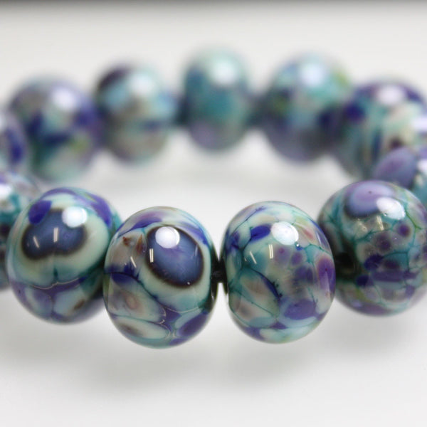 Blue Green Purple Lampwork Beads