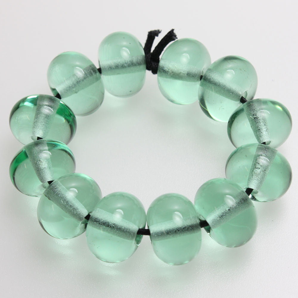 Green Lampwork Beads - Pale Emerald Green
