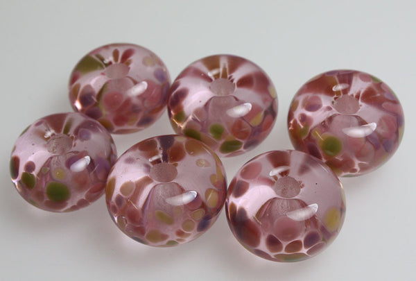 Pink Large Hole Lampwork Beads