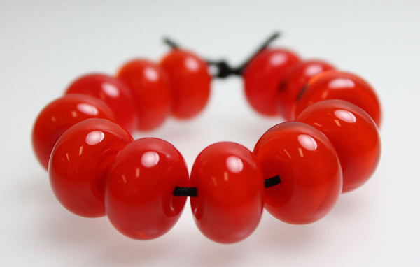 Poppy Red Lampwork Spacer Beads