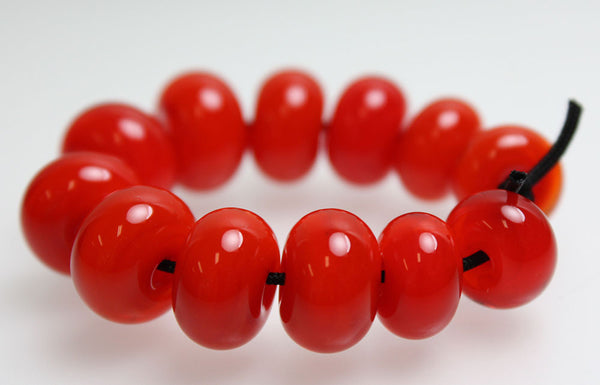 Handmade Red Lampwork Spacer Beads